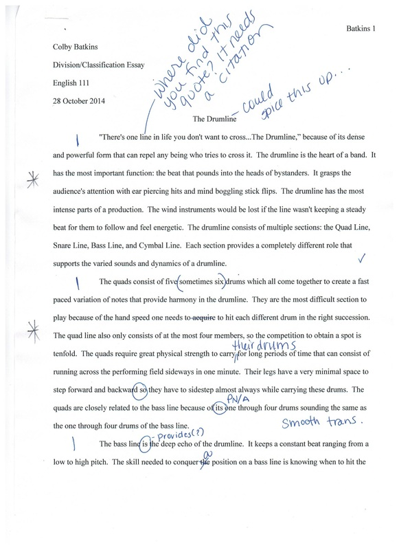Classification essay thesis statement
